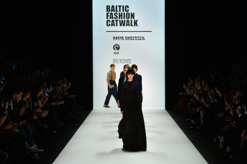 BERLIN, GERMANY - JANUARY 17: Models walk the runway at the Balagans, David Andersen, Indra Salcevica - Baltic Fashion Catwalk show during Mercedes-Benz Fashion Week Autumn/Winter 2014/15 at Brandenburg Gate on January 17, 2014 in Berlin, Germany. (Photo by Frazer Harrison/Getty Images for IMG)